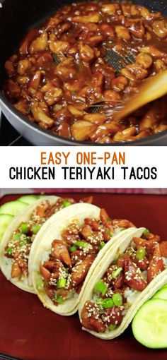 "<a href=""https://www.facebook.com/BuzzFeedFood/videos/vb.491452930867938/1188999351113289/?type=2&theater"" target=""_blank"">One-Pan Chicken Teriyaki Tacos</a>"