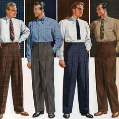 men's trousers, Love how the tie would never pass their waistband. 1940s Mens Suits, 1940s Mens Clothing, 1950s Men, 1950s Suit, Male Clothing, 1950s Fashion Menswear, 1940s Fashion, Vintage Fashion, Men Fashion