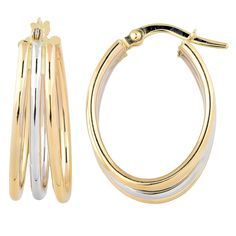 These earrings are made in Italy and beautifully crafted with 10 karat yellow and white gold finish. This is a triple oval hoop earring with a saddle back closure.