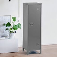Petya Locker 1 Door Storage Cabinet Hashtag Home Colour: Grey Door Storage, Locker Storage, Storage Cabinets, Barrister Bookcase, Bookcases, Metal Lockers, Home Office Organization, Organizing, Cabinet Colors