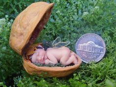 Holiday Sale Miniature Fairy Baby in Walnut by TeensyWeensyBaby