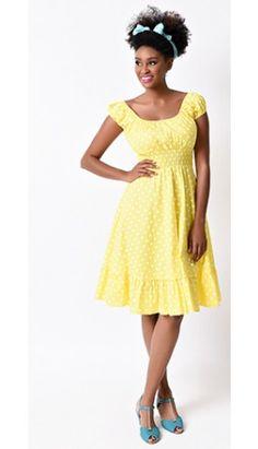 1940s Style Yellow & White Dot Cap Sleeve Peasant Swing Dress