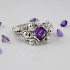 Gemstone Wire Wrapped Amethyst Ring Silver Handmade Fair Trade USA Bazaars R Us More frontal view Wire Jewelry Rings, Wire Jewelry Designs, Metal Jewelry, Jewelery, Handmade Jewelry, Wire Wrapped Rings, Schmuck Design, Beads And Wire, Wire Wrapping