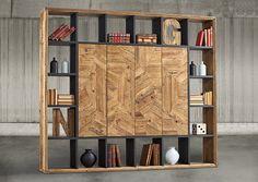 Libreria vintage con 4 puertas realizada en madera de pino reciclado efecto parquet acabada en madera natural y negro vintage. ... Eur:6102 / $8115.66
