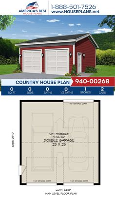 A darling Country garage design, Plan 940-00268 features a double car garage with a lift-friendly vaulted ceiling. #countrygarage #garageplan #garage #architecture #houseplans #housedesign #homedesign #homedesigns #architecturalplans #newconstruction #floorplans #dreamhome #dreamhouseplans #abhouseplans #besthouseplans #newhome #newhouse #homesweethome #buildingahome #buildahome #residentialplans #residentialhome Best House Plans, Country House Plans, Dream House Plans, Garage Design, House Design, Dormer Windows, New Construction, Building A House, Architecture Design