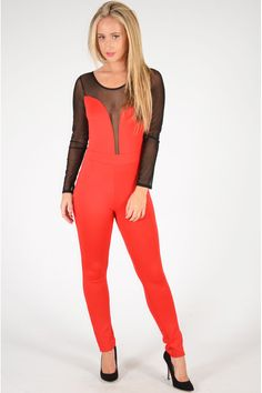 Pop Couture - Fagin Mesh Insert Jumpsuit In Red, £32.00 (http://www.popcouture.co.uk/clothing/fagin-mesh-insert-jumpsuit-in-red/)