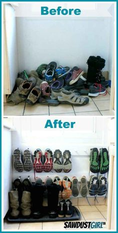 A coat rack hung low on the wall makes a space-saving shoe rack. And many other awesome diy home organization ideas!