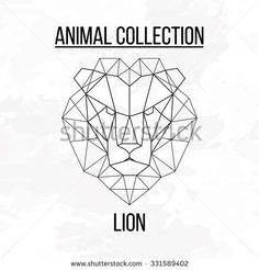 Geometric vector animal lion head lines silhouette logo badge icon isolated on white background vintage vector design element illustration