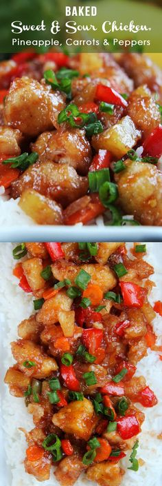 The BEST Sweet and Sour chicken - takeout OR homemade - I have ever had in my entire life per Carlsbad Cravings. It is also baked with pineapple, carrots, onions and bell peppers all in ONE BAKING DISH.No need to stir fry extra veggies. Asian Recipes, Healthy Recipes, Pineapple Recipes Healthy, Oriental Recipes, Oriental Food, Asian Foods, Chinese Recipes, Vegetarian Recipes, Sweet N Sour Chicken