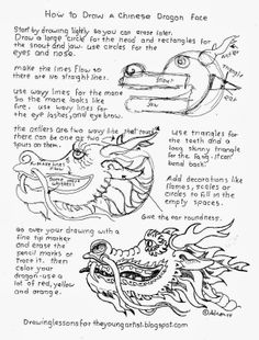How to draw a Chinese Dragon Head worksheet, see more at my blog: http://drawinglessonsfortheyoungartist.blogspot.com/