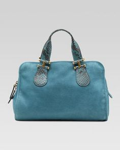 Gucci Twice Suede and Python Top Handle Bag, Blue on shopstyle.com