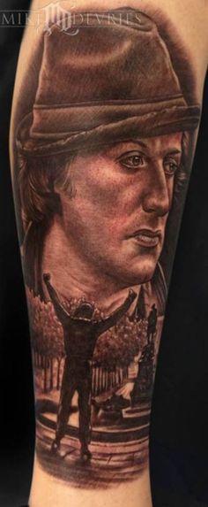 Rocky portrait by Mike Devries. #inked #inkedmag #tattoo #realism #rocky #art #portrait