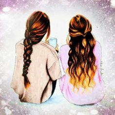 Best Friends Cartoon, Friend Cartoon, Cute Friends, Best Friend Pictures Tumblr, Bff Pictures, Bff Pics, Best Friend Drawings, Girly Drawings, Friends Wallpaper