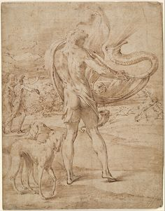 Parmigianino (Girolamo Francesco Maria Mazzola), 1503-1540, Italian, Huntsmen sounding his horn with a staghunt in the distance, c.1530-1539. Pen and brown ink and brown wash over faint traces of black chalk; laid down: 26.2 x 20.4 cm. National Gallery of Victoria, Melbourne. Mannerism.