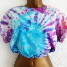 Cotton Crew Neck Cropped T-Shirts for Women Hipster Grunge, Ibiza, Tie Dye Crop Top, Huf, Crop Tops, Crew Neck, Urban, T Shirts For Women, Halloween
