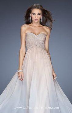 Crisscross Chiffon Gown by La Femme 20404