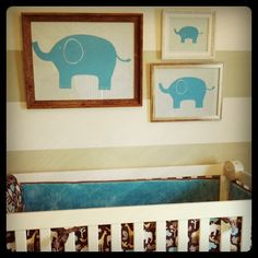 Baby boy nursery ideas. Grey, white & teal elephant nursery. #nursery #baby