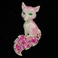 Cute Animal Fox Brooch Broach Pin w/ Pink Rhinestone Crystals for broach boquet