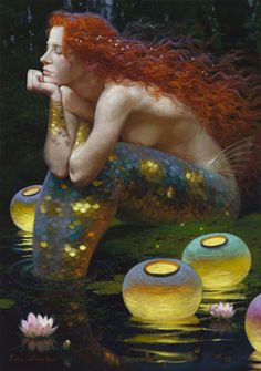 'Contemplation' (date unknown) by contemporary artist Victor Nizovtsev. Oil on canvas. Giclée series available through McBride Gallery, Annapolis, Maryland, U.S. Victor Nizovtsev is known for painting luminous tableaus based on fables and fairy tales. The fairy tale reference here, of course, is mermaids. A mermaid makes a brief cameo appearance in 'Random Magic' (Sasha Soren). // Found by @RandomMagicTour (https://twitter.com/randommagictour) - Sasha Soren