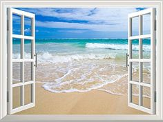 Wall26 Removable Wall Sticker  Wall Mural  Beautiful Blue Caribbean Sea Beach  Creative Window View Home Decor  Wall Decor  24x30 >>> Click image for more details. (Note:Amazon affiliate link)