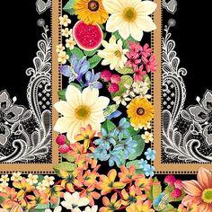 Estampas | FARM Textile Design, Floral Design, Gold Embroidery, White Patterns, Designer Wallpaper, Decoupage, Floral Wreath, Design Inspiration, Texture