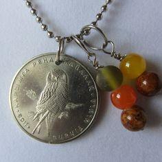 Kazakhstan Coin Necklace.  Kazakhstan Hawk by hart2hartdesigns, $18.00