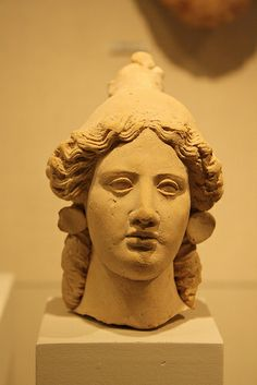 A Greek (Tarentine) Terracotta Head of a Woman, Possibly Artemis 3rd.cent-BCE
