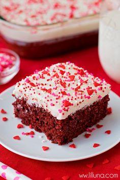 Delicious Red Velvet Poke Cake with homemade Cream Cheese Frosting { lilluna.com }