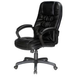 Contemporary Executive Chair Padded Armrests Office Furniture Black Soft Leather