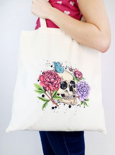Tote bag printed with Gothic Peony and screen sensation Décor Crafts, Printed Tote Bags, Peony, Screens, Screen Printing, Looks Great, Totes, Masks, Flora