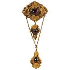 Art Noveau Gold and Garnet Convertible Brooch/Pendant