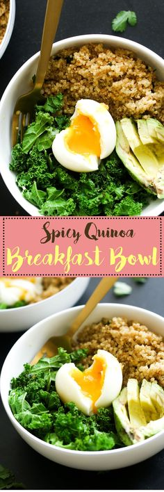 This spicy quinoa breakfast bowl is filled with protein, healthy fats, complex carbs, fiber, and flavor! It's made with minimal ingredients and is the perfect savory breakfast bowl.