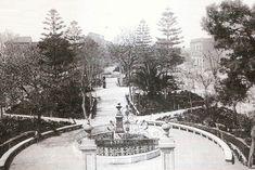 Panorámica de Josep Thomas de la actual Plaza de Calvo Sotelo (antes llamada Paseo de Reina Victoria y Paseo de San Francisco), con el recién restaurado busto de Eugenio Barrejón en primer término.