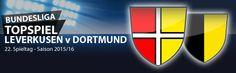 22. #Bundesliga Spieltag 2015/16. In dieser Woche wird sich zeigen, ob die Werkself im Spitzenspiel gegen den BVB ihren dritten Rang konservieren kann. Ferner kommt es im Rheinderby zum Schlagabtausch zwischen Gladbach und Köln. Für Berlin (gegen Wolfsburg) und Schalke (gegen den VfB), müssen Punkte her im Kampf um die Edelränge.