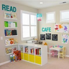How to separate Jaelens desk area from the rest of the playroom ideen, Preschool Inspired Playroom - Project Nursery Playroom Organization, Playroom Decor, Kids Decor, Small Playroom, Organization Ideas, Playroom Shelves, Colorful Playroom, Toddler Playroom, Basement Storage