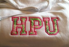Custom HIGH POINT University sweatshirt made with Lilly Pulitzer fabric at obxmonogramshop.com