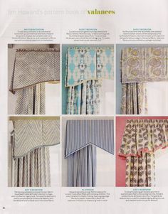 a variety of valances