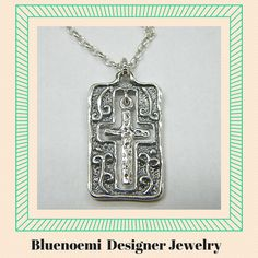 Sterling Silver Cross necklace Boho designer jewelry by Bluenoemi