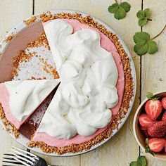 Strawberry-Pretzel Icebox Pie | Not only is this a gorgeous dessert, but the combination of salt from the crushed pretzels and sweetness from the strawberries makes this recipe irresistible. | SouthernLiving.com
