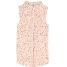 Victoria Beckham Denim Lace Sleeveless Blouse ($409) ❤ liked on Polyvore