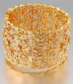 Gold filigree and diamond bridal bangle.