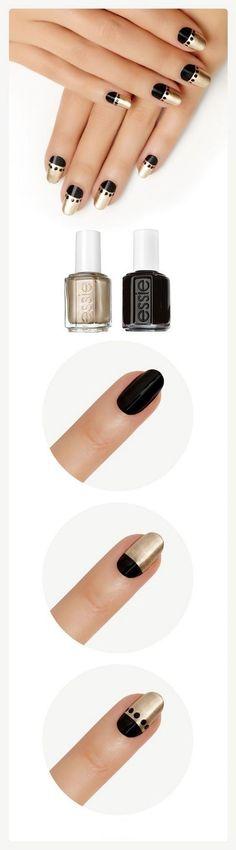 negro y dorado Gelish Nails, Diy Nails, Cute Nails, Pretty Nails, Minimalist Nails, Winter Nail Designs, Nail Art Designs, Fall Nail Trends, Nail Techniques
