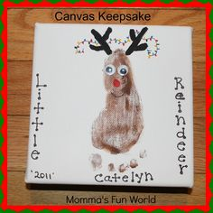 Canvas Christmas Keepsake footprint, great gift to make in the classroom for kids to give parents.