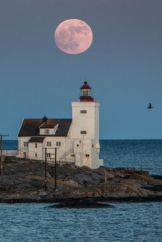 Moon over light  house