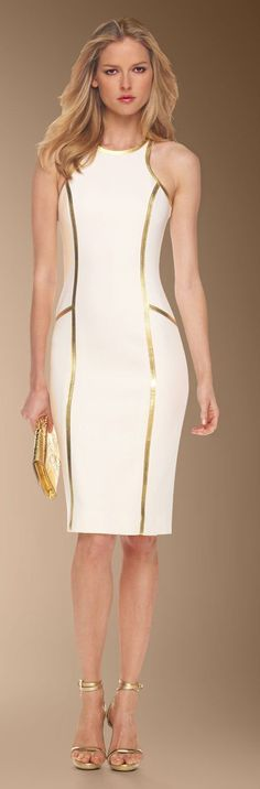 Michael Kors Leather-Piped white Sheath Dress: @roressclothes closet ideas women fashion outfit clothing style