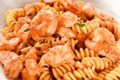 Our delectable fusilli pasta with salmon and baby prawns (shrimp) can be prepared in just 20 minutes & will leave you feeling satisfied. Get the recipe now. Fusilli Pasta Recipe, Prawn Pasta, Prawn Shrimp, Salmon Pasta Recipes, Prawn Recipes, Italian Pasta Recipes, Salmon And Shrimp, Quick Easy Dinner