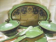 Art Deco Grecian Design Jade Green Celluloid Dresser Set via Etsy