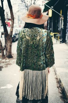 Love the back of this fringed kimono top - such a gorgeous green with pretty embroidery x