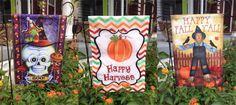 New garden flags for #Halloween and fall! https://www.fleurtygirl.net/catalogsearch/result/?q=flag Flag stands available here https://www.fleurtygirl.net/three-piece-garden-flag-stand.html.