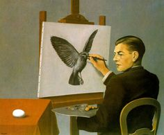 In this painting by surrealist Rene Magritte (who is clearly a Write In Color favorite), he delivers a self-portrait of himself painting a bird. But, as with all of Magritte's work, there is so much more going on. Max Ernst, Rene Magritte, Artist Magritte, Conceptual Art, Surreal Art, Magritte Paintings, Ouvrages D'art, Oil Canvas, Canvas Art